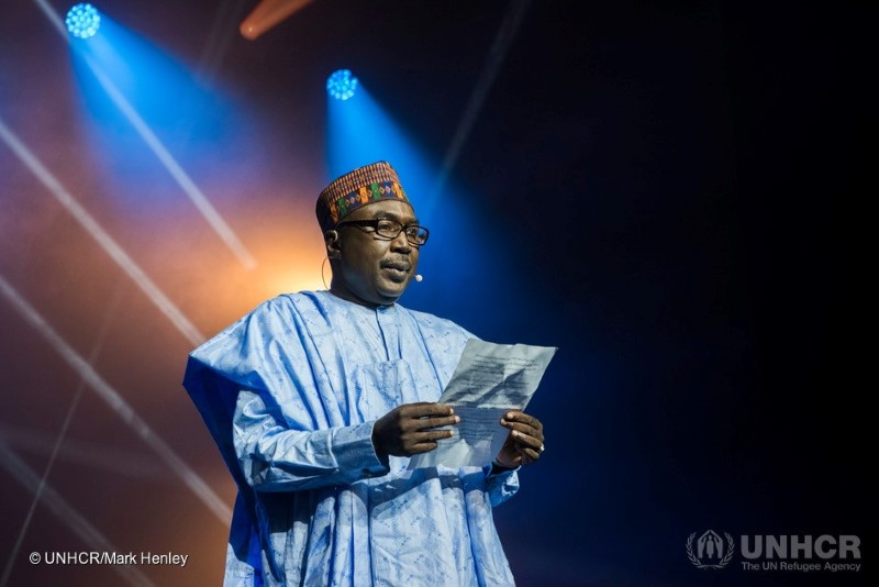 Mr. Zannah Mustapha during his acceptance speech. Foto: UNHCR/Mark Henley