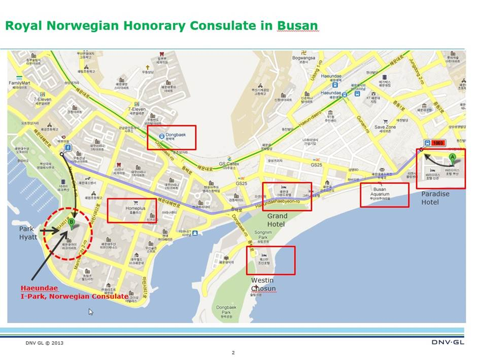 Honorary Consulate In Busan Norway In South Korea - Busan map