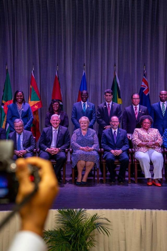 Prime Minister Erna Solberg with some of the state leaders in CARICOM. Photo: Arvid Samland