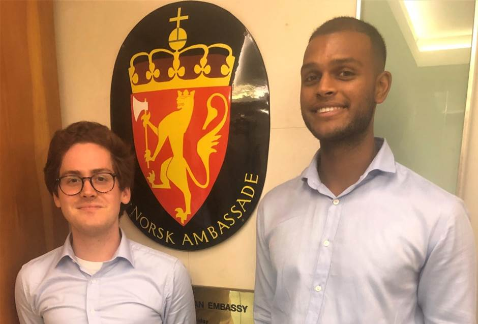 Two new trainees at the Embassy in Singapore